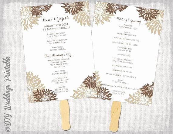 Wedding Flowers order form Template New Printable Wedding Fan Program Template Flower
