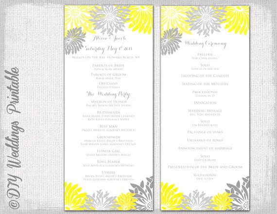 Wedding Flowers order form Template Unique Printable Wedding Program Template Yellow and Gray