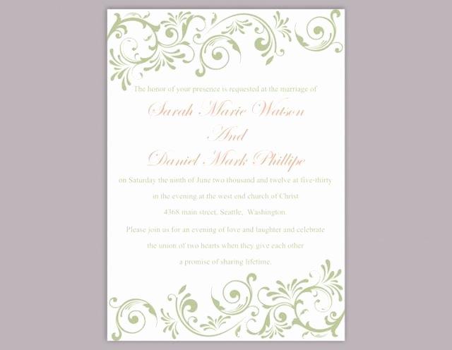 Wedding Invitation Diy Template Awesome Diy Wedding Invitation Template Editable Word File Instant