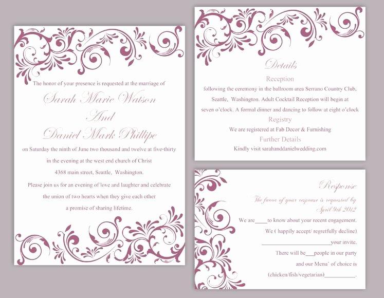 Wedding Invitation Diy Template Awesome Diy Wedding Invitation Template Set Editable Word File