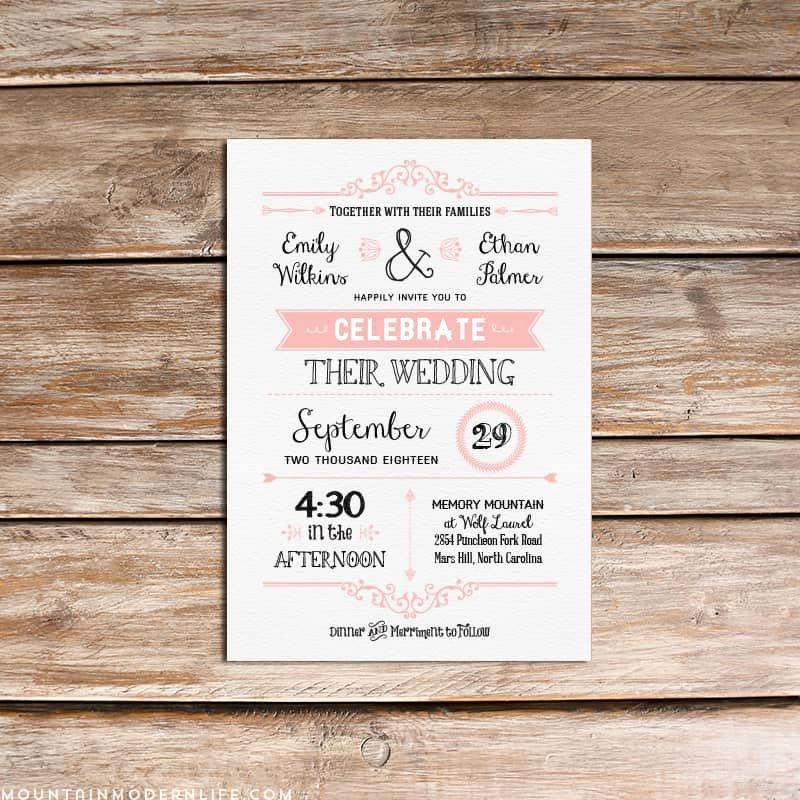 Wedding Invitation Diy Template Awesome Vintage Rustic Diy Wedding Invitation Template