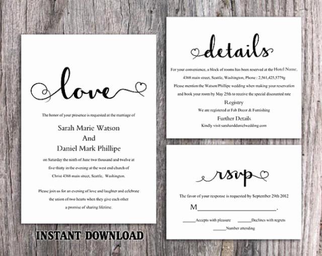 Wedding Invitation Diy Template Beautiful Diy Wedding Invitation Template Set Editable Word File