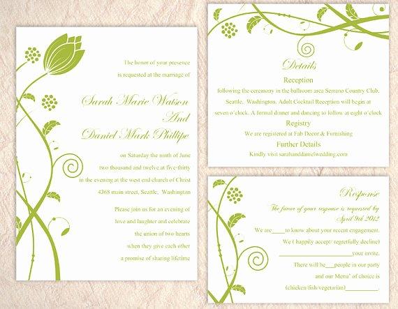 Wedding Invitation Diy Template Fresh Diy Wedding Invitation Template Set Editable Word File