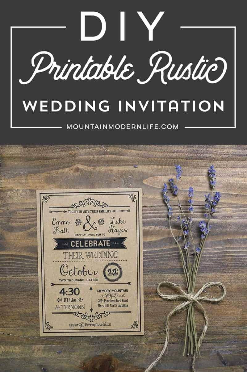 Wedding Invitation Diy Template Lovely Vintage Rustic Diy Wedding Invitation Template