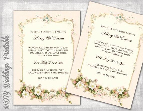 Wedding Invitation Diy Template Lovely Wedding Invitation Template Parisian Diy by