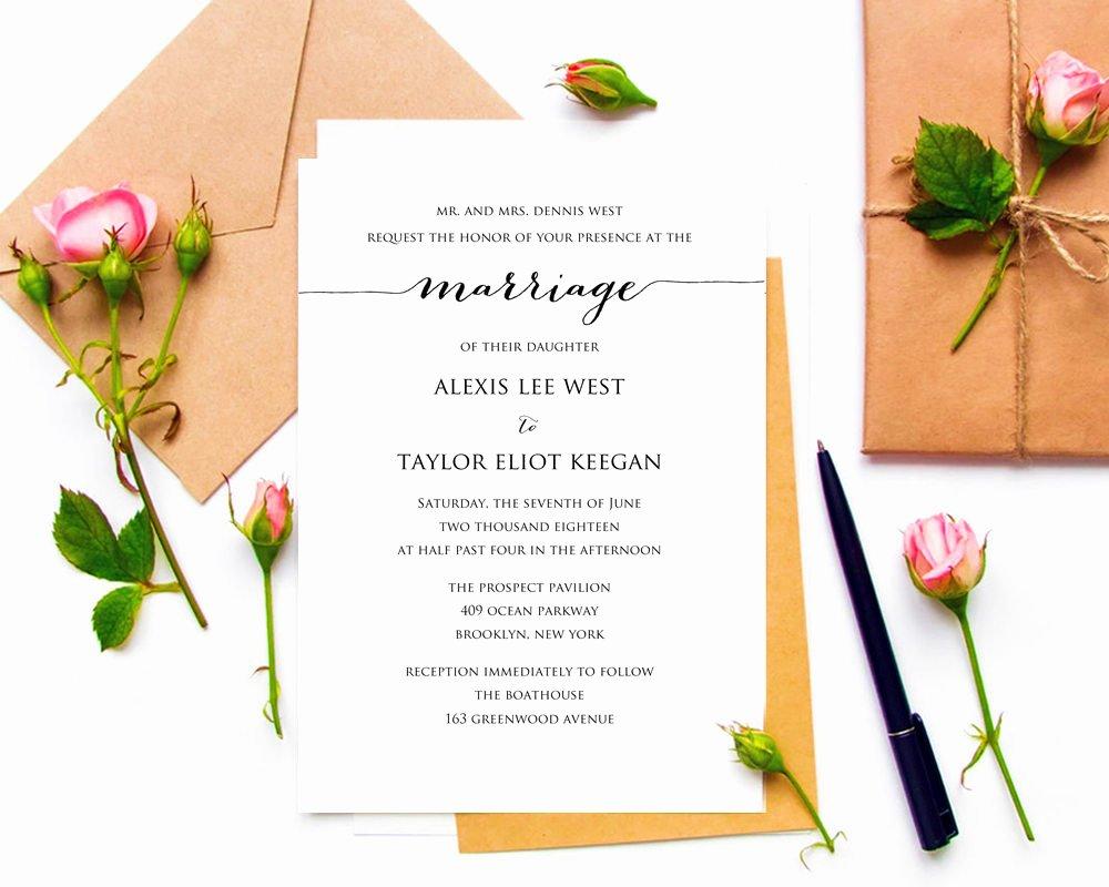 Wedding Invitation Diy Template Luxury Diy Wedding Invitation Printable · Wedding Templates and