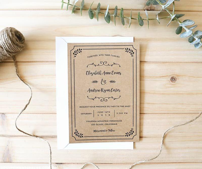 Wedding Invitation Diy Template New Whimsical Rustic Diy Wedding Invitation Set