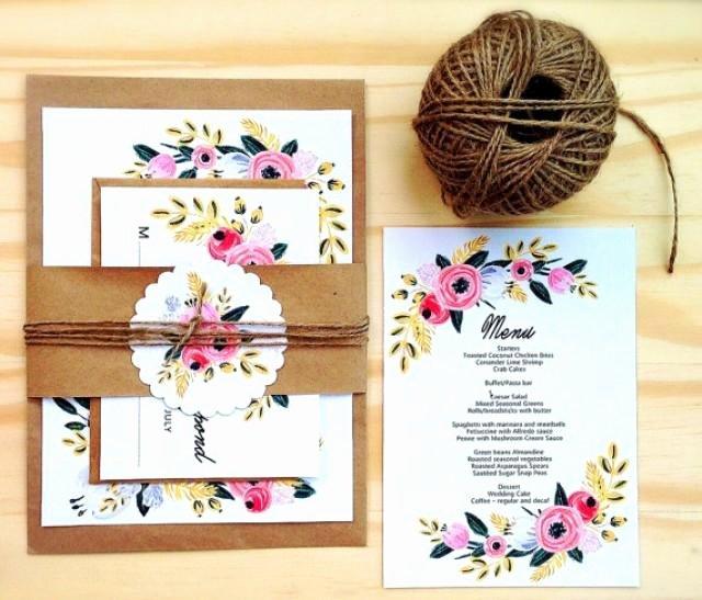 printable wedding invitation set instant editable word template digital diy wedding invitations set rustic simple sweet floral