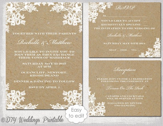 "Wedding Invitation Diy Template Unique Rustic Wedding Invitation Set Diy ""rustic Lace"" Printable"