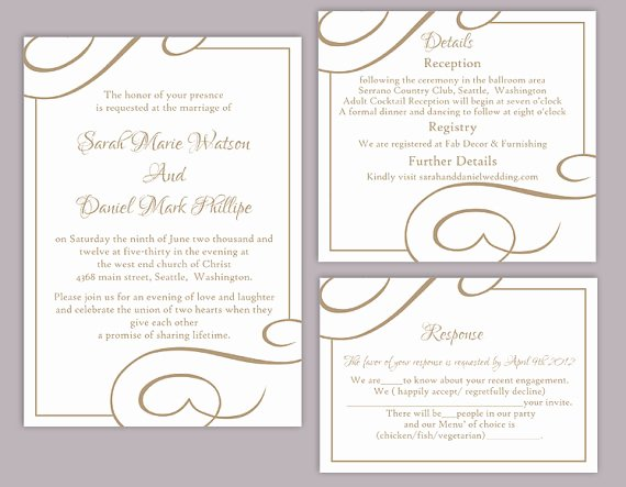 Wedding Invitation Template for Word Awesome Diy Wedding Invitation Template Set Editable Word File