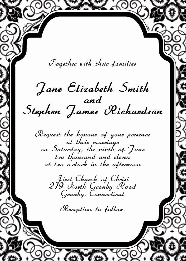 Wedding Invitation Template for Word Beautiful Free Printable Wedding Invitation Templates