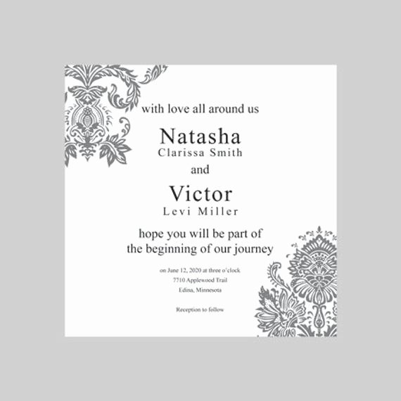 Wedding Invitation Template for Word Best Of Wedding Invitation Template 5x5 Square Silver by