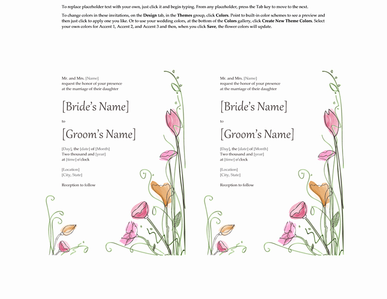 Wedding Invitation Template for Word New Microsoft Word 2013 Wedding Invitation Templates
