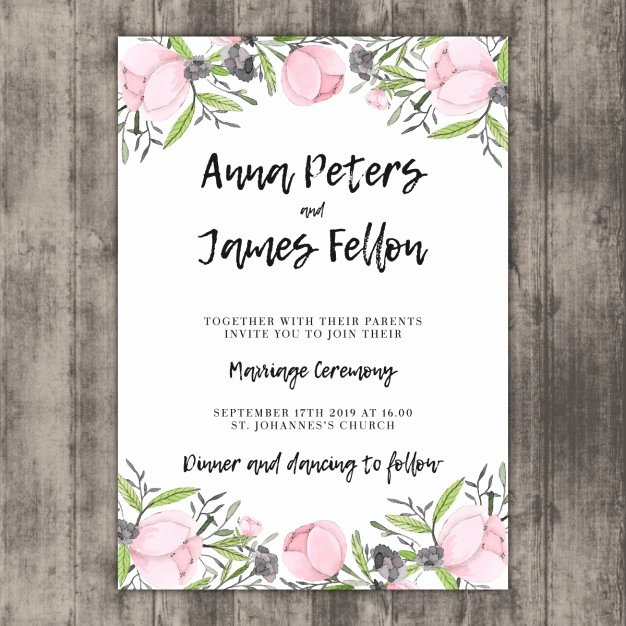 Wedding Invitation Template Free Awesome Floral Wedding Invitation Template On Wood Vector