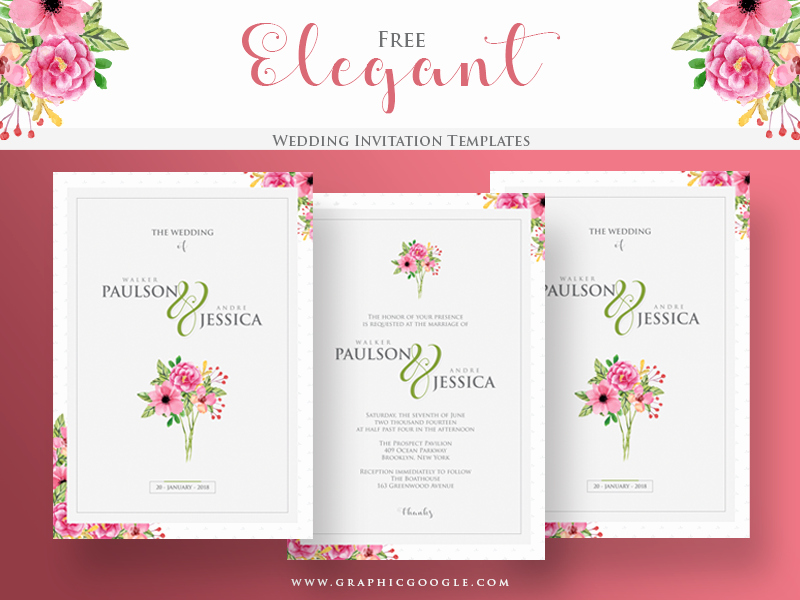 Wedding Invitation Template Free Awesome Free Elegant Wedding Invitation Templates by Graphic