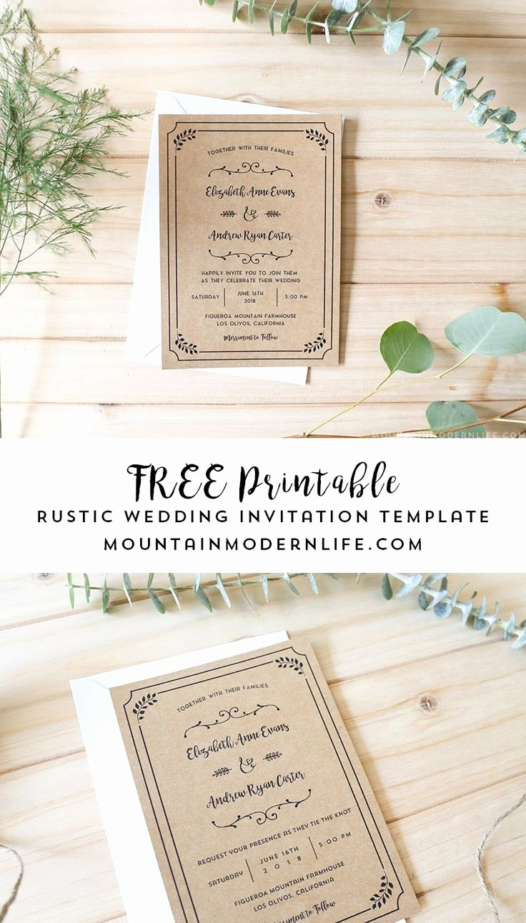 Wedding Invitation Template Free Beautiful Free Printable Wedding Invitation Template