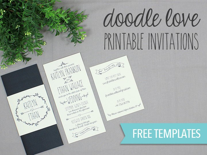 Wedding Invitation Template Free Download Beautiful Doodle Love Printable Wedding Invitation Set
