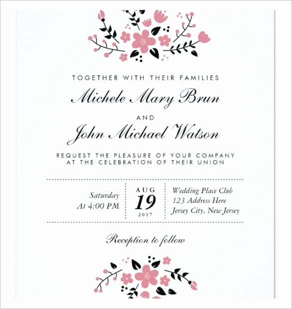 Wedding Invitation Template Free Download Elegant Wedding Invitation Template 71 Free Printable Word Pdf