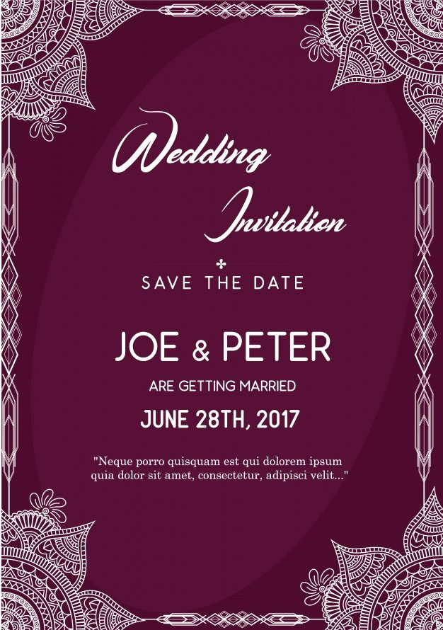 Wedding Invitation Template Free Download Lovely Purple Wedding Invitation Template Vector
