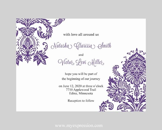 Wedding Invitation Template Free Download Unique Wedding Invitation Template Purple Damask Instant Download
