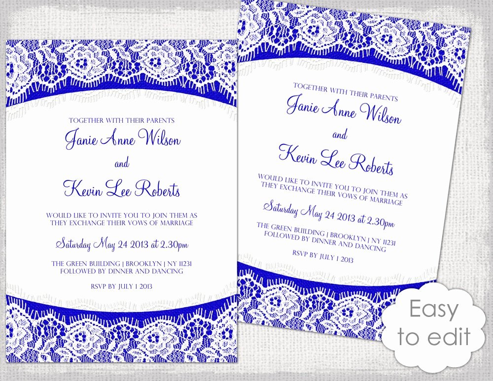 Wedding Invitation Template Free Elegant Lace Wedding Invitation Template Royal Blue Linen