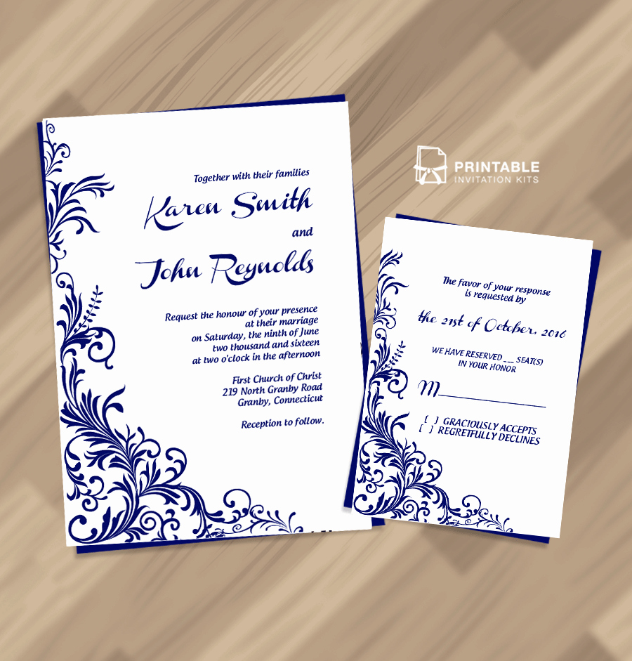 Wedding Invitation Template Free Lovely Free Pdf Wedding Invitation Download Foliage Borders