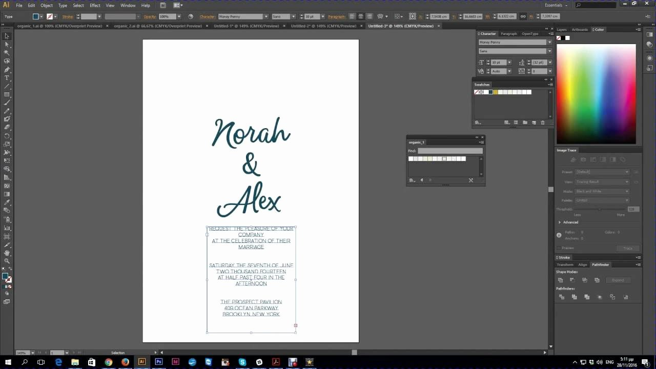 Wedding Invitation Template Illustrator Beautiful Adobe Illustrator Import Swatches & Create Wedding