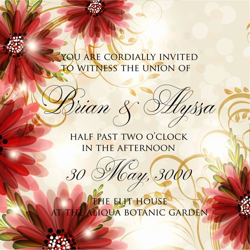 Wedding Invitation Template Illustrator Beautiful Beautiful Flowers Wedding Invitation Card Vector Set Free
