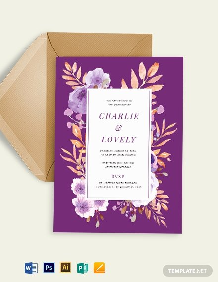 Wedding Invitation Template Illustrator Best Of Purple Wedding Invitation Template Word Psd