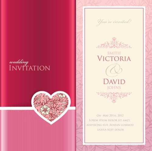 Wedding Invitation Template Illustrator Unique Wedding Invitation Cards Vectors
