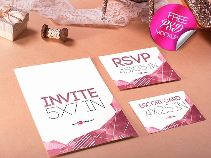 Wedding Invitation Template Psd Awesome Wedding Invitation Mockup Psd Template Mockup Free Downloads