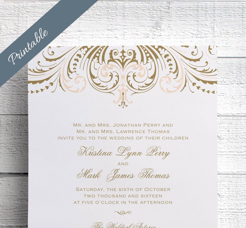 Wedding Invitation Template Psd Inspirational Vintage Wedding Invitation Printables Blush by