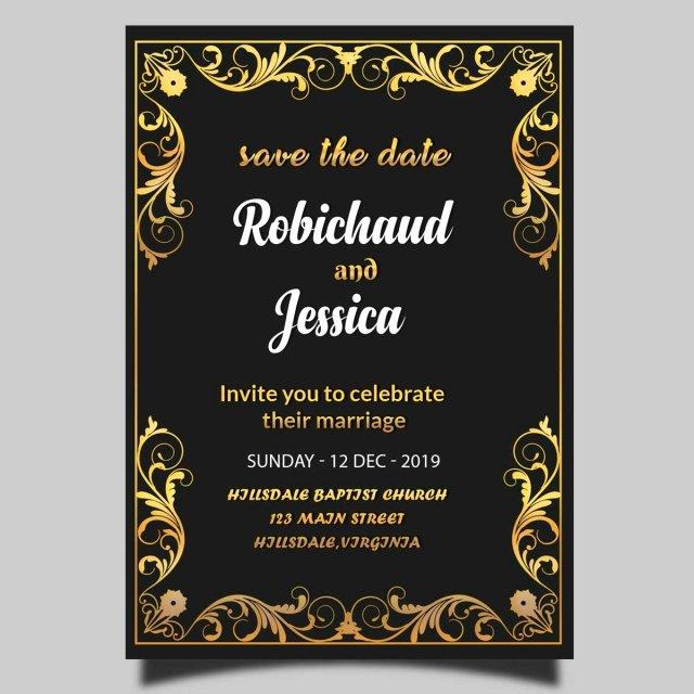 Wedding Invitation Template Psd Luxury Black Royal Wedding Invitation Card Template Psd Template