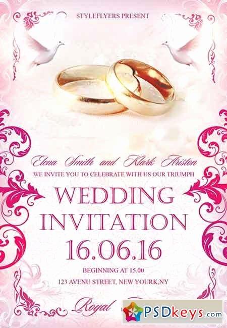 Wedding Invitation Template Psd Unique Wedding Invitation Psd Flyer Template Cover
