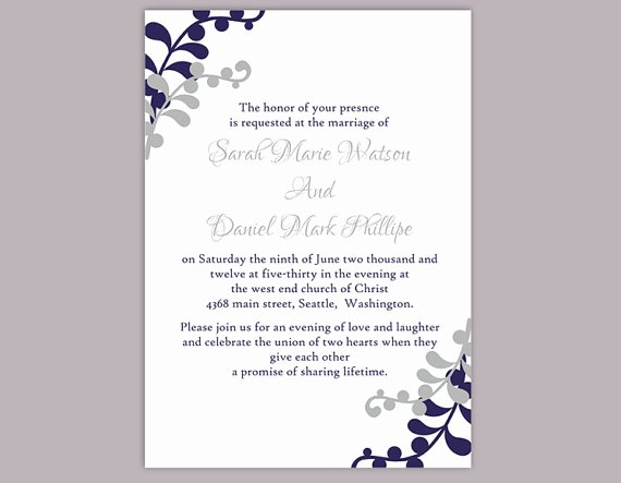 Wedding Invitation Word Template Elegant Diy Wedding Invitation Template Editable Word File Instant