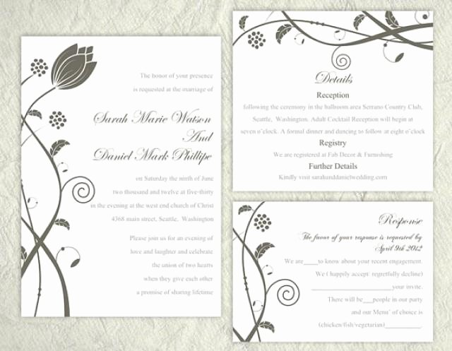 Wedding Invitation Word Template Elegant Diy Wedding Invitation Template Set Editable Text Word