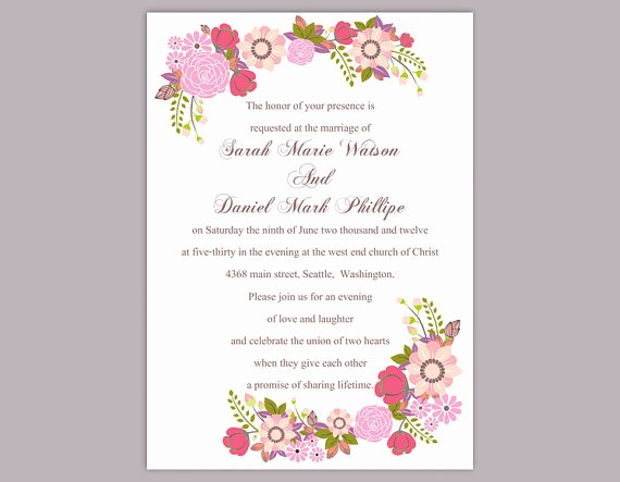 Wedding Invitation Word Template Inspirational Diy Wedding Invitation Template Editable Word File Instant