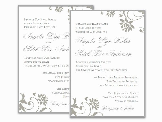Wedding Invitation Word Template Lovely Free Wedding Invitation Templates for Word