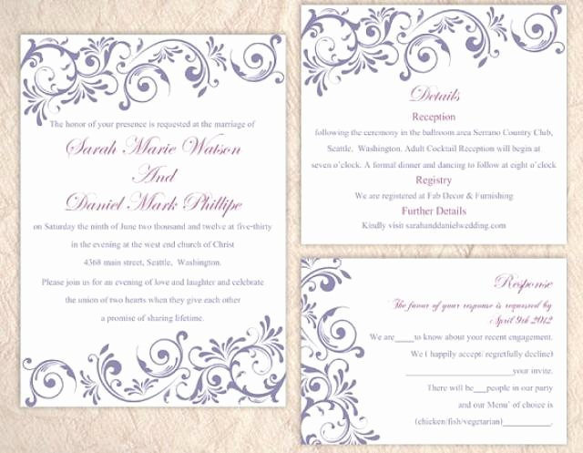 Wedding Invitation Word Template Luxury Diy Wedding Invitation Template Set Editable Word File