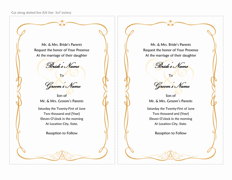Wedding Invitation Word Template Luxury Microsoft Word 2013 Wedding Invitation Templates