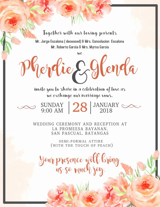 Wedding Invitation Wording Template Elegant Wedding Invitation Template