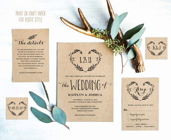 Wedding Invitation Wording Template Luxury Rustic Wedding Invitation Template Printable by Vinewedding