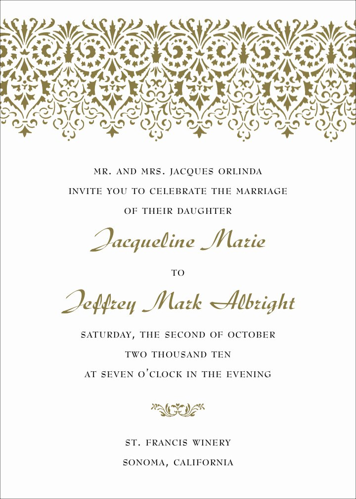 Wedding Invitation Wording Template New formal Wedding Invitation Wording