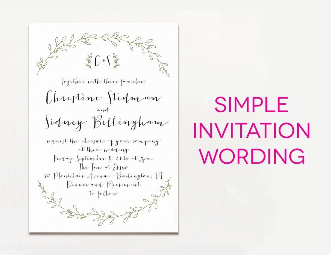 Wedding Invitation Wording Template New Wedding Invitation Wording Examples In Every Style