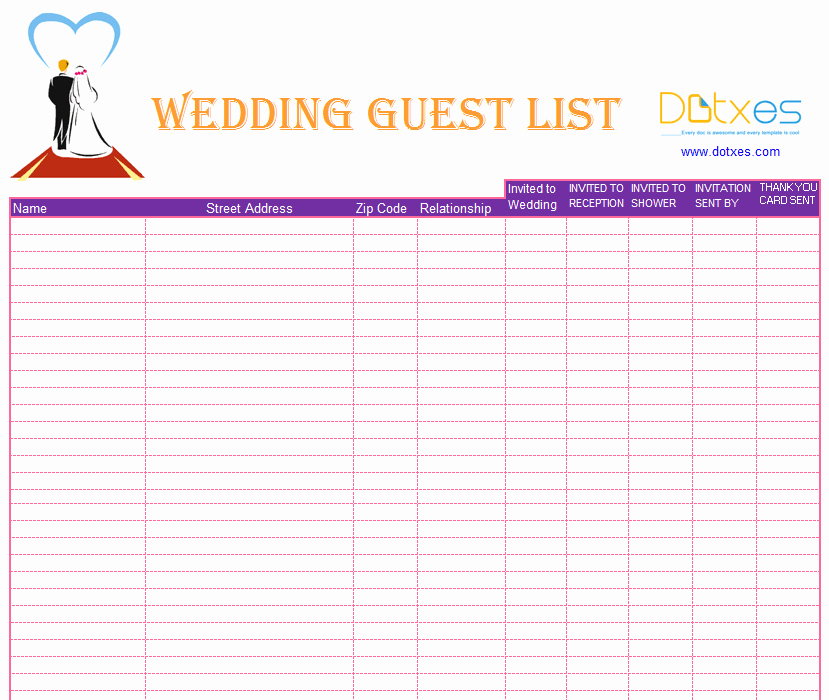 Wedding Invitations List Template Luxury Blank Wedding Guest List Template Dotxes