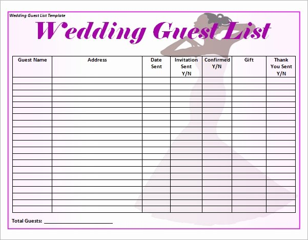 Wedding Invitations List Template Luxury Free 16 Wedding Guest List Templates In Pdf Word