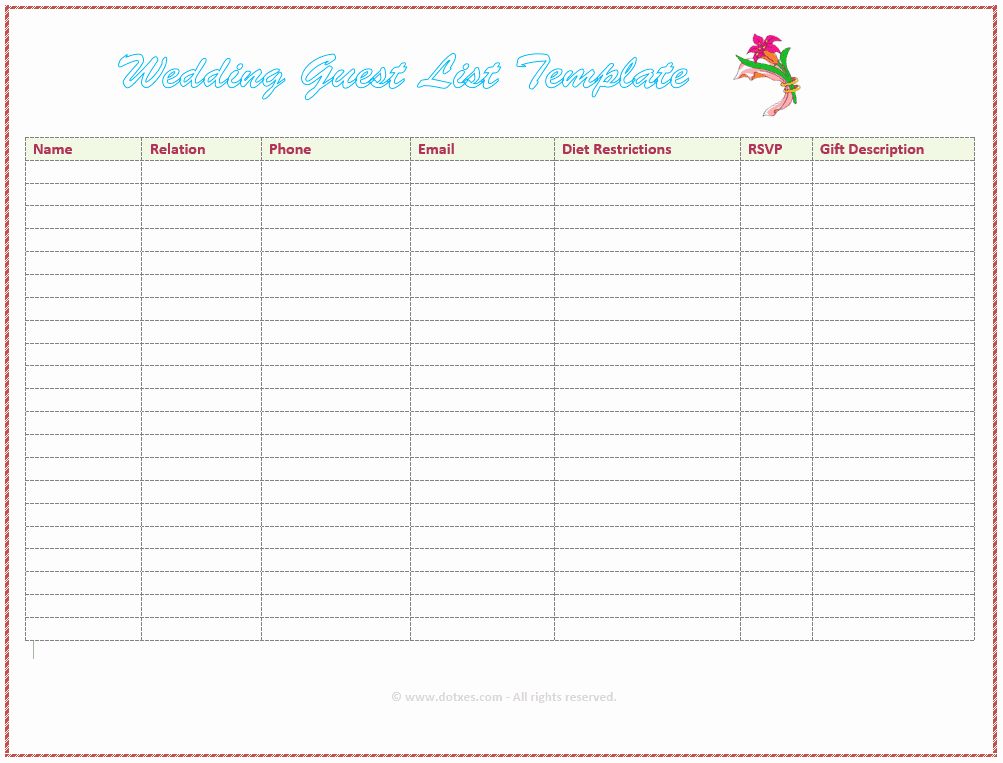 Wedding Invitations List Template New 7 Free Wedding Guest List Templates and Managers