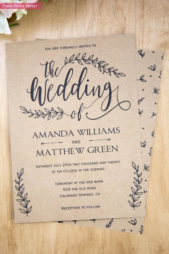 Wedding Invitations List Template New Rustic Wedding Invitation Printable Leaf Design & Decor