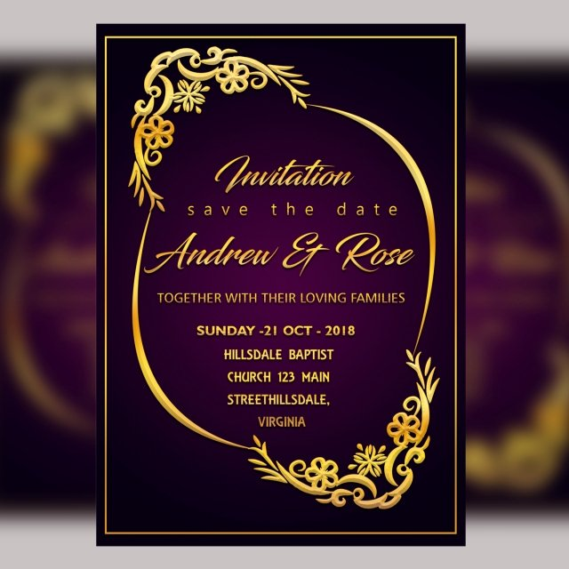 Wedding Invitations Photoshop Template Awesome Purple Wedding Invitation Card Template Psd File with