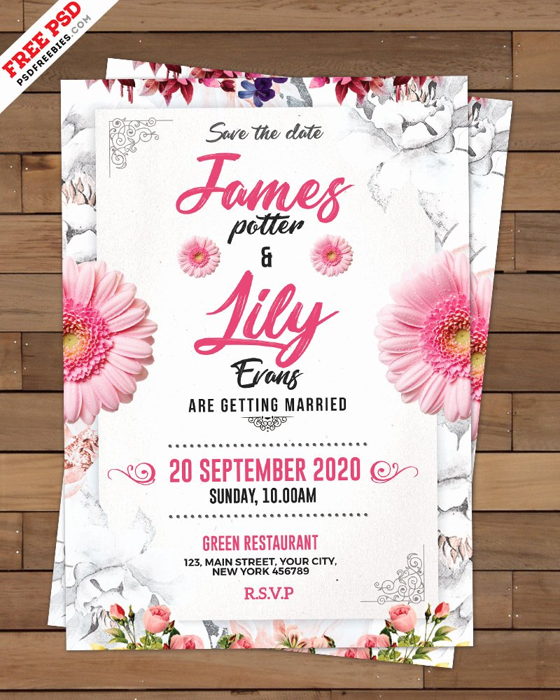 Wedding Invitations Photoshop Template Awesome Wedding Invitation Card Template Psd